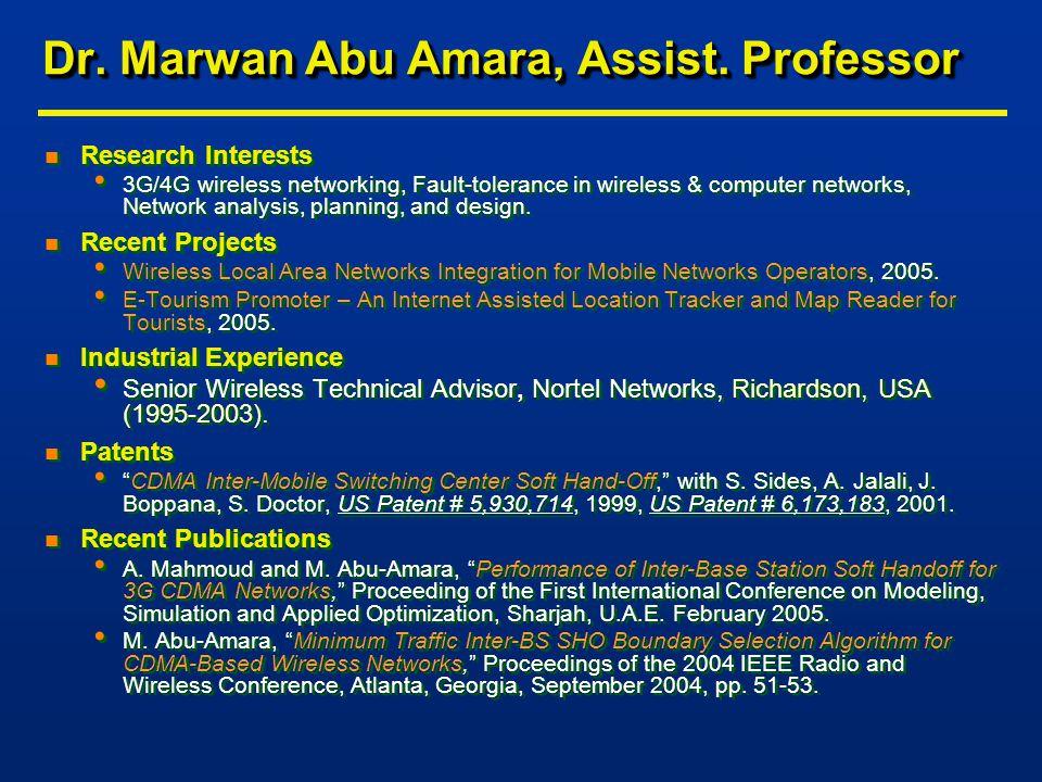 Dr. Marwan Abu Amara, Assist.