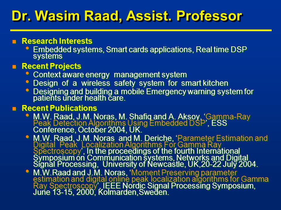 Dr. Wasim Raad, Assist.