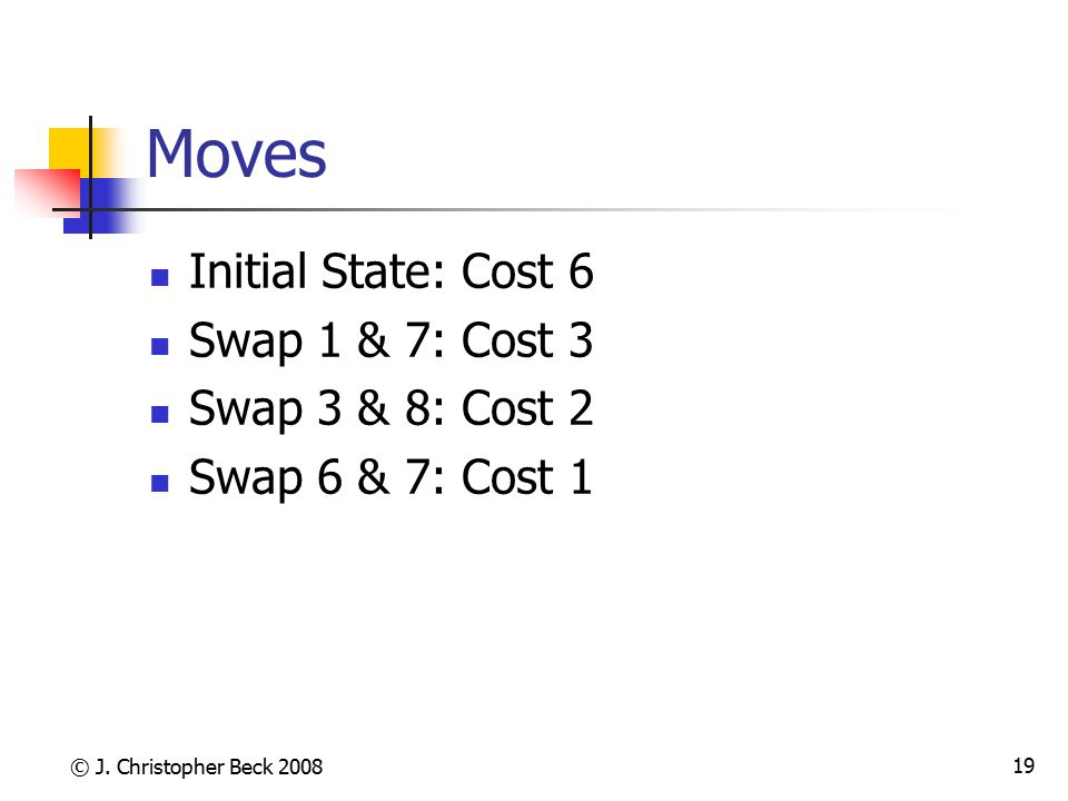 © J. Christopher Beck 2008 19 Moves Initial State: Cost 6 Swap 1 & 7: Cost 3 Swap 3 & 8: Cost 2 Swap 6 & 7: Cost 1