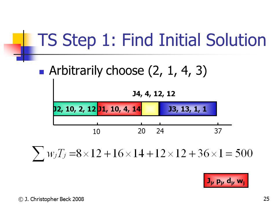 © J. Christopher Beck 2008 25 TS Step 1: Find Initial Solution Arbitrarily choose (2, 1, 4, 3) J3, 13, 1, 1J1, 10, 4, 14J2, 10, 2, 12 J4, 4, 12, 12 10