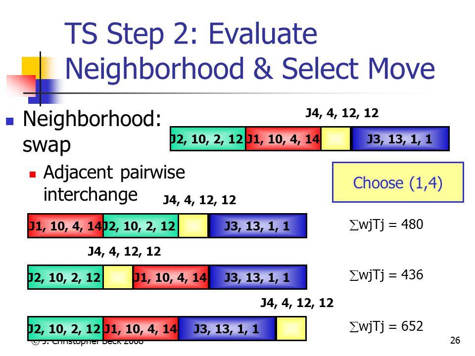 © J. Christopher Beck 2008 26 TS Step 2: Evaluate Neighborhood & Select Move Neighborhood: swap Adjacent pairwise interchange J3, 13, 1, 1J1, 10, 4, 1