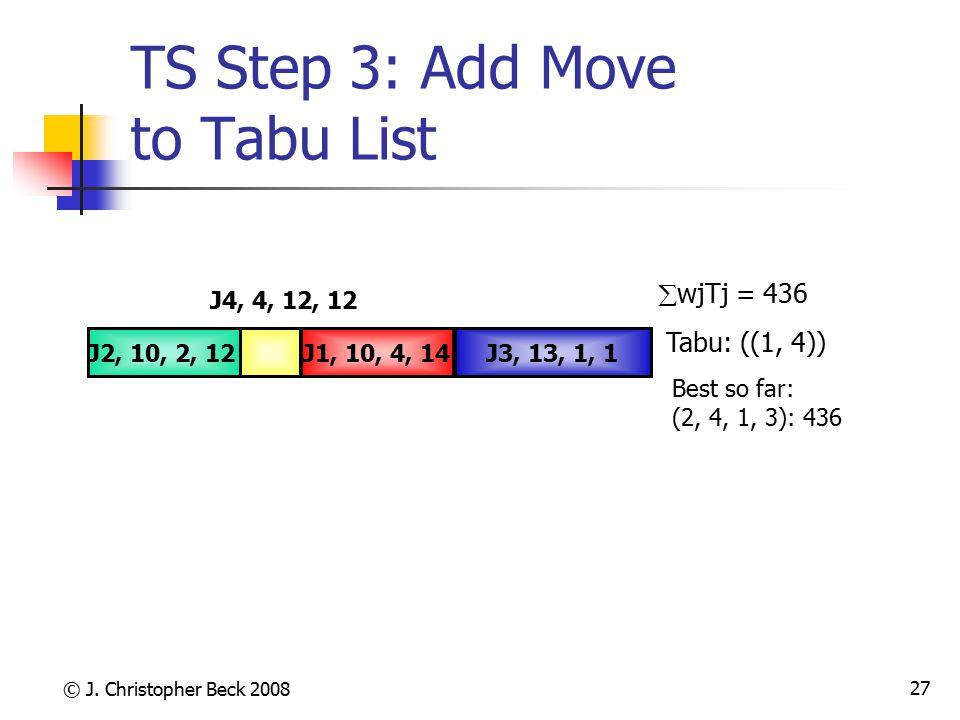© J. Christopher Beck 2008 27 TS Step 3: Add Move to Tabu List J4, 4, 12, 12 J3, 13, 1, 1J1, 10, 4, 14J2, 10, 2, 12  wjTj = 436 Tabu: ((1, 4)) Best s