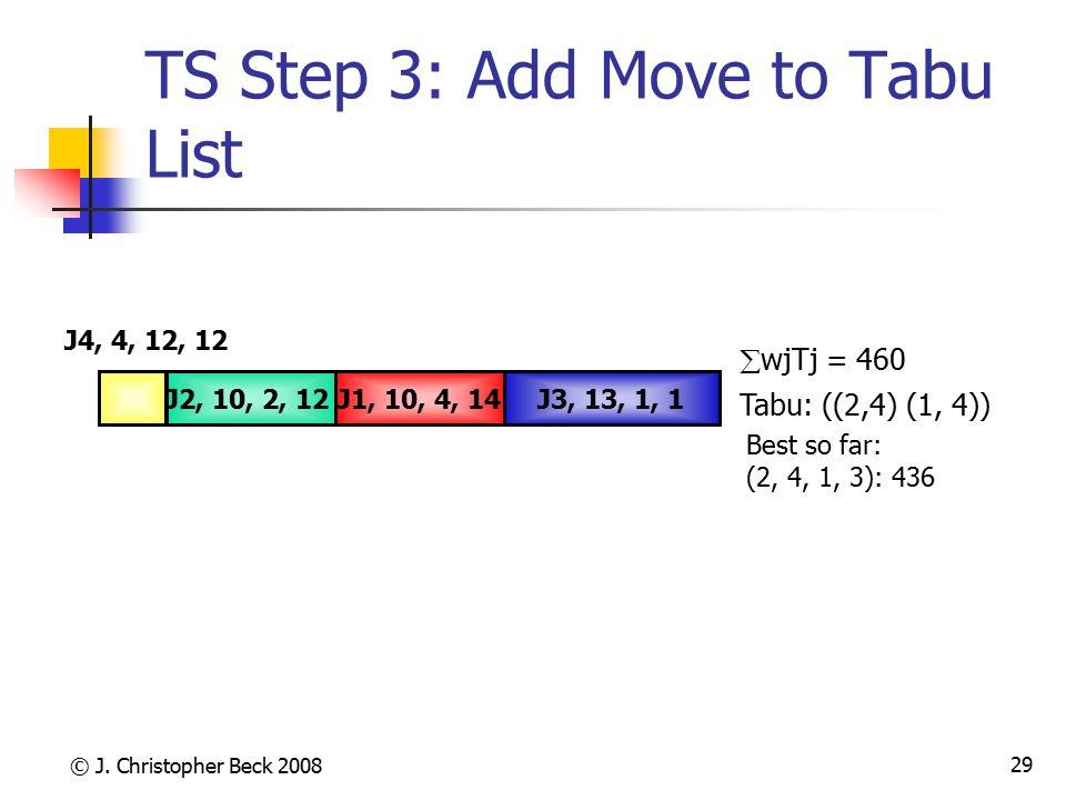 © J. Christopher Beck 2008 29 TS Step 3: Add Move to Tabu List Tabu: ((2,4) (1, 4)) J3, 13, 1, 1J1, 10, 4, 14J2, 10, 2, 12 J4, 4, 12, 12  wjTj = 460