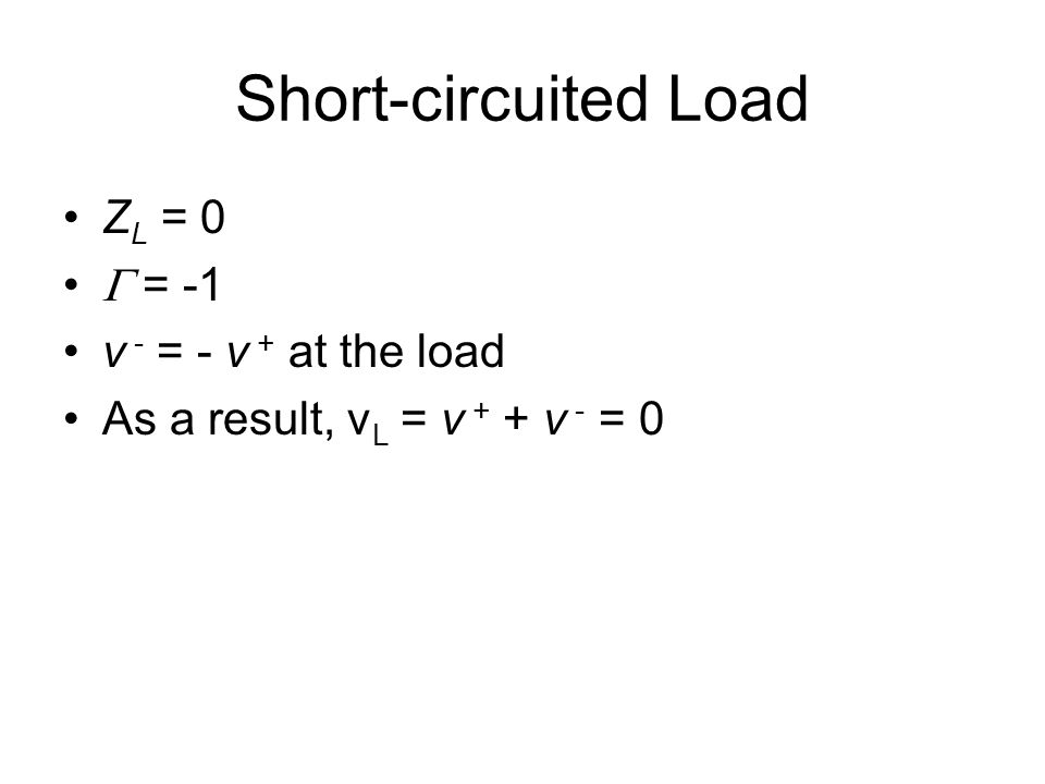 Short-circuited Load Z L = 0  = -1 v - = - v + at the load As a result, v L = v + + v - = 0