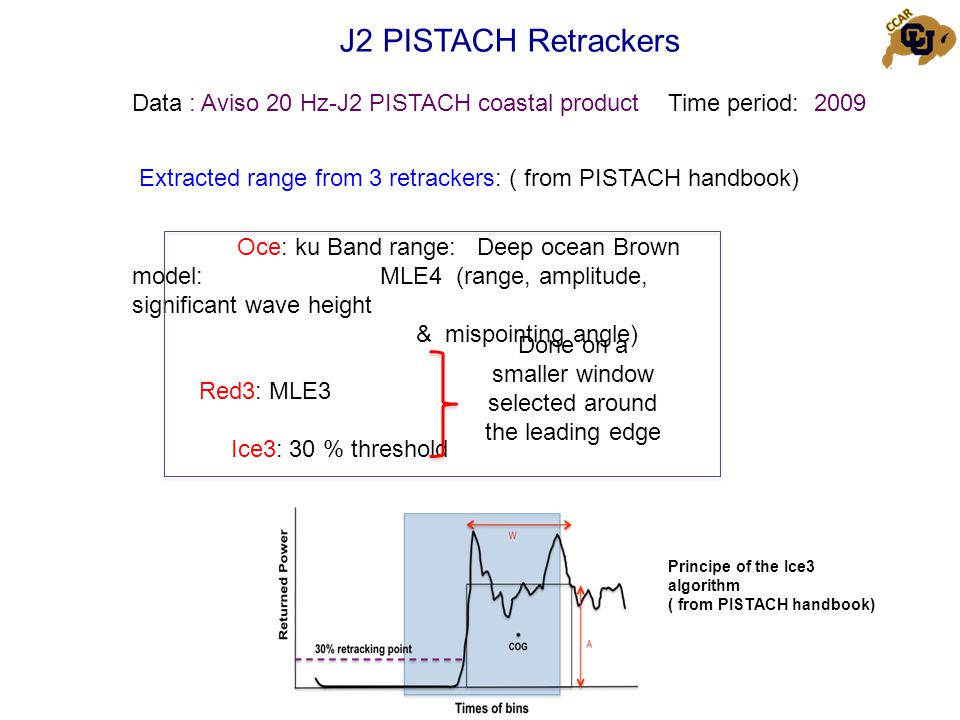 J2 PISTACH Retrackers Data : Aviso 20 Hz-J2 PISTACH coastal product Oce: ku Band range: Deep ocean Brown model: MLE4 (range, amplitude, significant wave height & mispointing angle) Red3: MLE3 Ice3: 30 % threshold Time period: 2009 Extracted range from 3 retrackers: ( from PISTACH handbook) Principe of the Ice3 algorithm ( from PISTACH handbook) Done on a smaller window selected around the leading edge