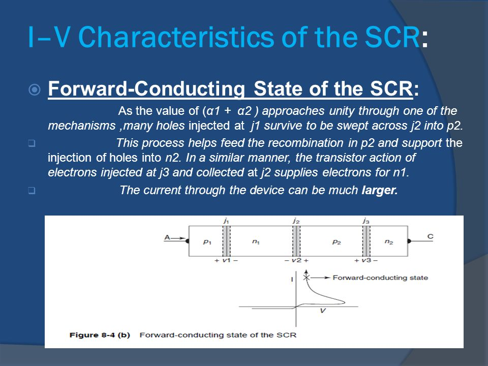  Forward-Conducting State of the SCR: As the value of (α1 + α2 ) approaches unity through one of the mechanisms,many holes injected at j1 survive to
