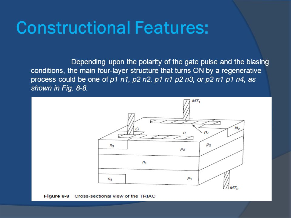 Constructional Features: Depending upon the polarity of the gate pulse and the biasing conditions, the main four-layer structure that turns ON by a re