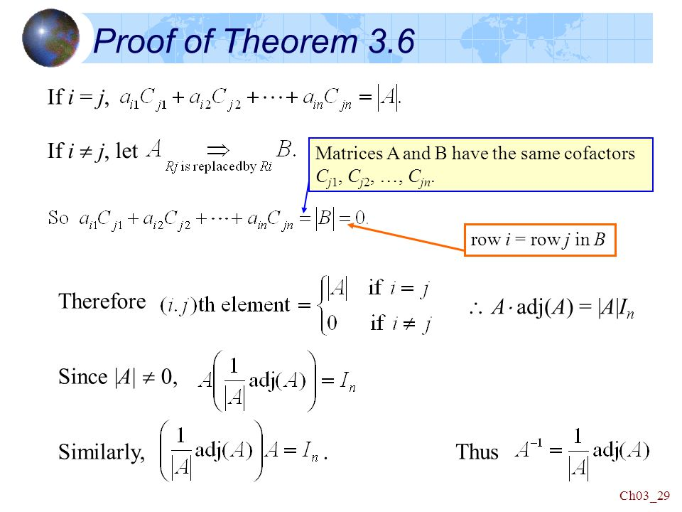 Ch03_29 Therefore  A  adj(A) = |A|I n Proof of Theorem 3.6 If i = j, If i  j, let Since |A|  0, Similarly,.