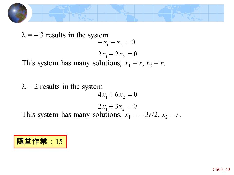 Ch03_40 = – 3 results in the system This system has many solutions, x 1 = r, x 2 = r.