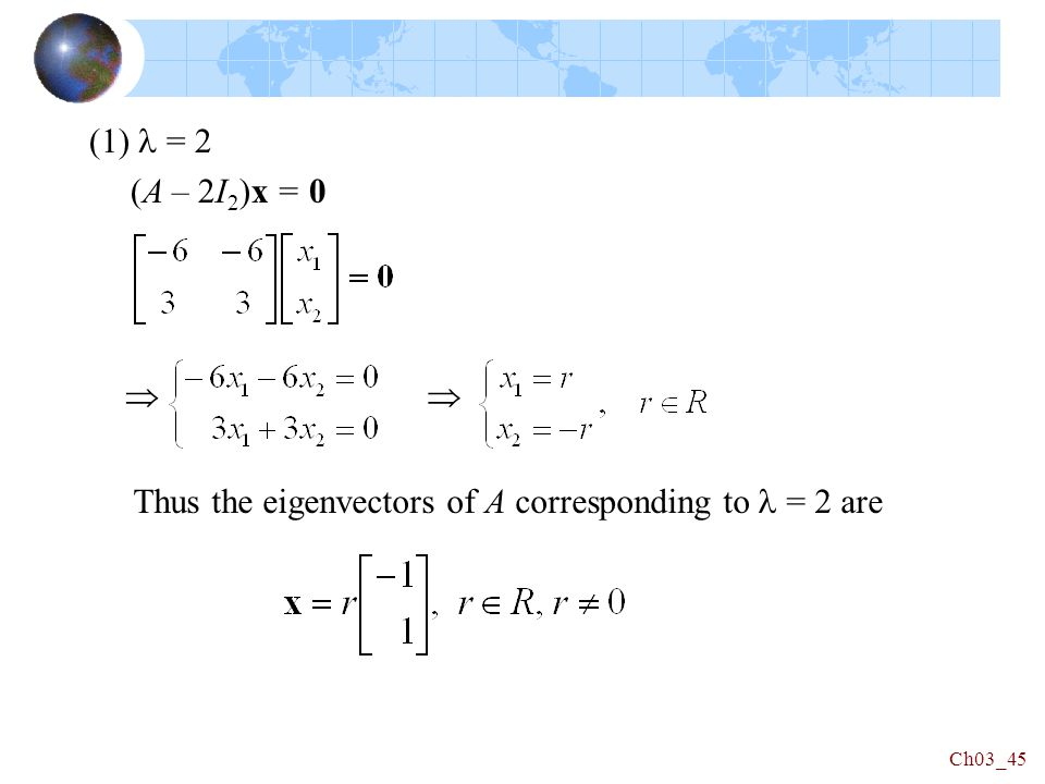 (1) = 2 (A – 2I 2 )x = 0 Thus the eigenvectors of A corresponding to = 2 are Ch03_45 