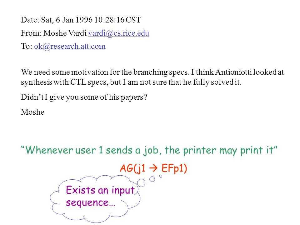 Date: Sat, 6 Jan 1996 10:28:16 CST From: Moshe Vardi vardi@cs.rice.edu To: ok@research.att.com We need some motivation for the branching specs. I thin