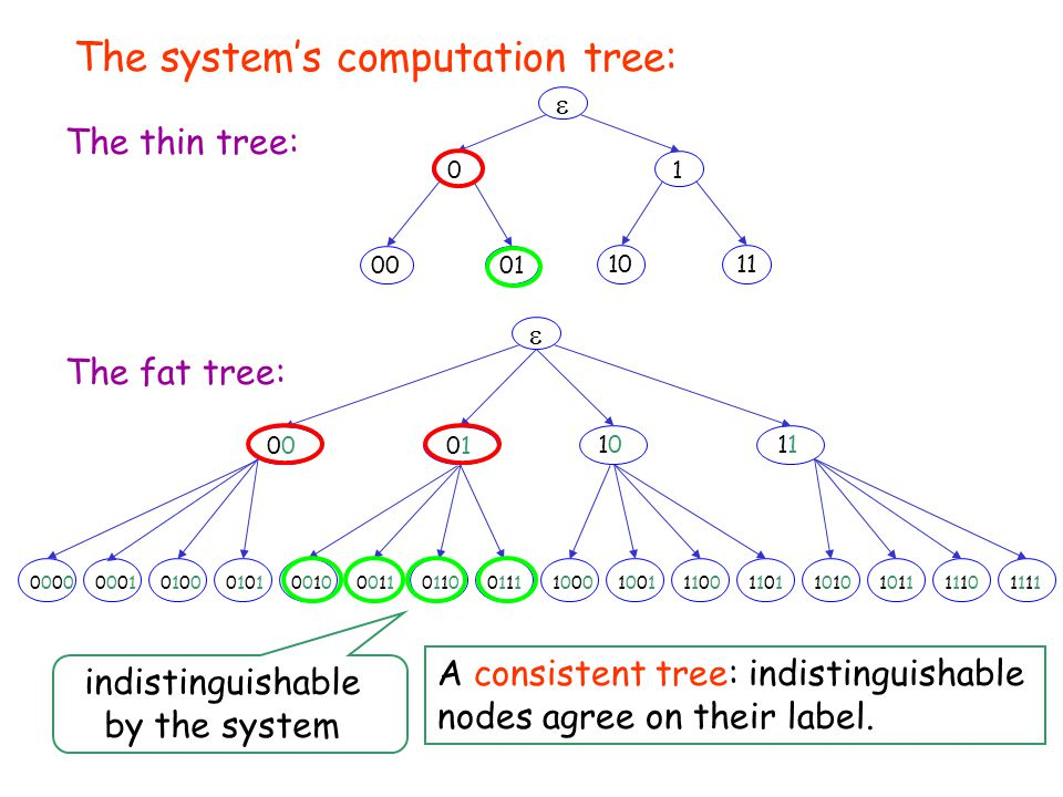 11111111 The system's computation tree:  0001 1011 01 The thin tree: The fat tree:  00101 10101 100010001001100111001100110111010010001000110011011001100111011100000000000100010100010001010101101010101011101111101110 indistinguishable by the system A consistent tree: indistinguishable nodes agree on their label.