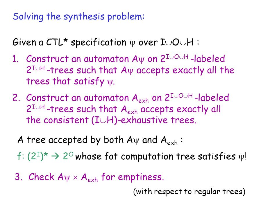 Solving the synthesis problem: Given a CTL* specification  over I  O  H : 1.Construct an automaton A  on 2 I  O  H -labeled 2 I  H -trees such that A  accepts exactly all the trees that satisfy .