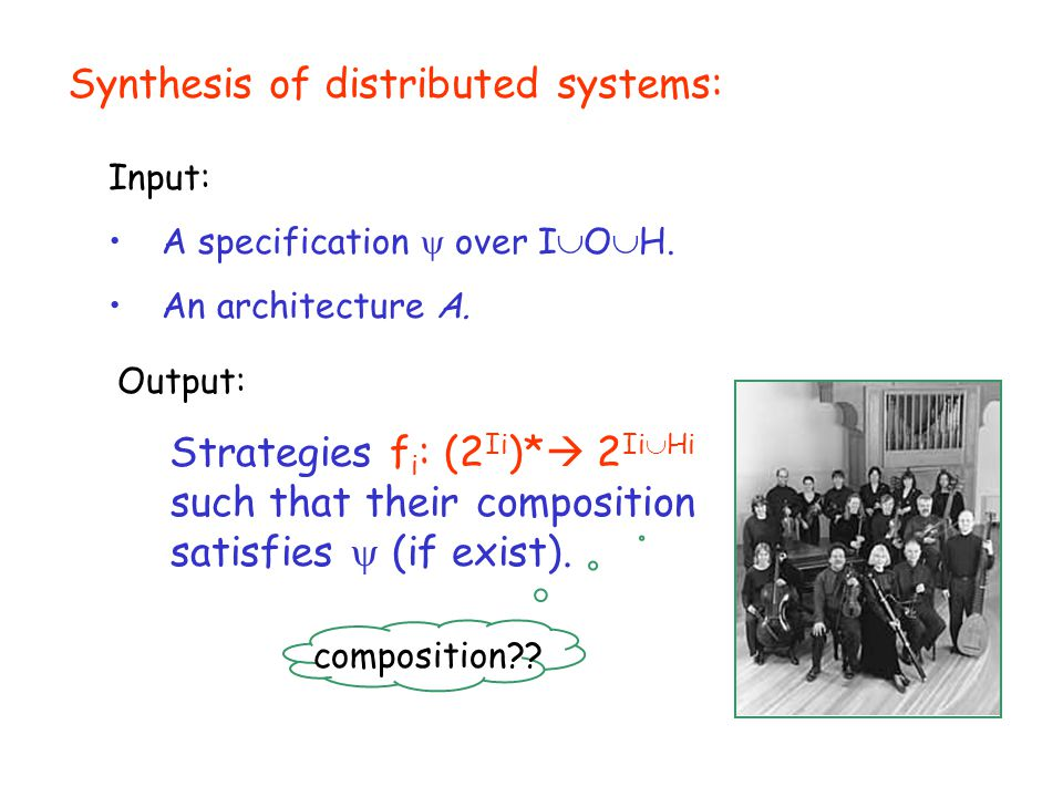 Synthesis of distributed systems: Input: A specification  over I  O  H.