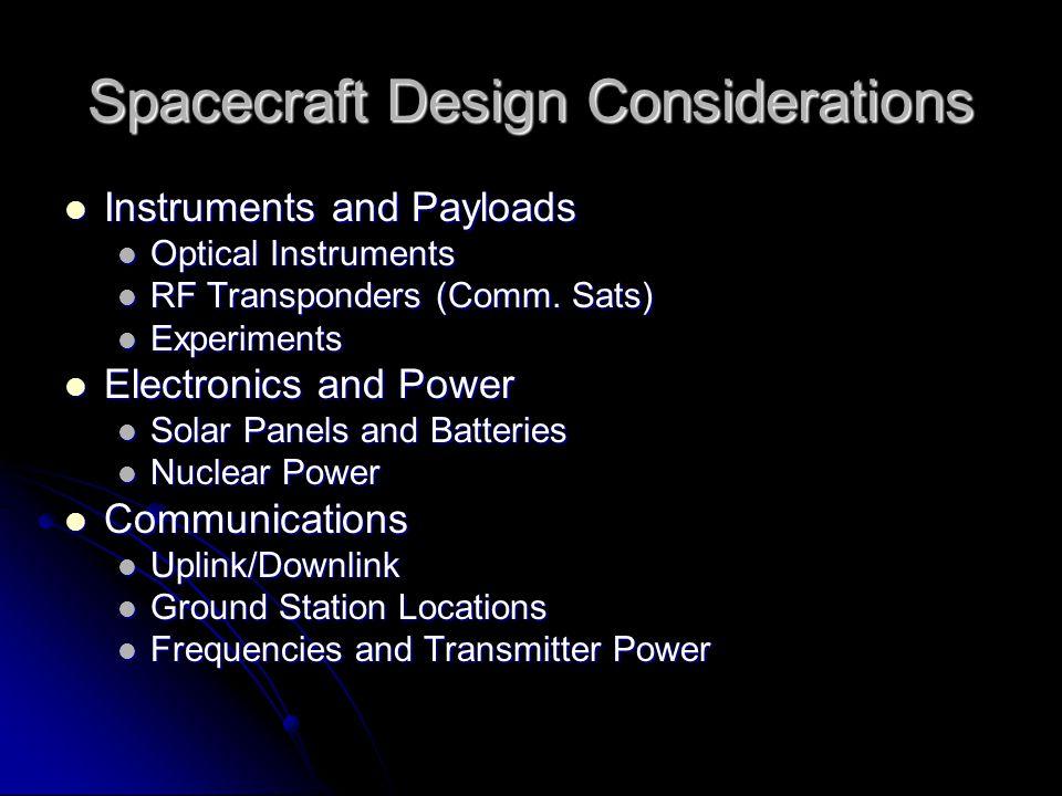 Spacecraft Design Considerations Instruments and Payloads Instruments and Payloads Optical Instruments Optical Instruments RF Transponders (Comm.