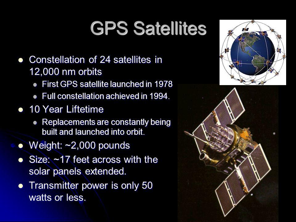 GPS Satellites Constellation of 24 satellites in 12,000 nm orbits Constellation of 24 satellites in 12,000 nm orbits First GPS satellite launched in 1978 First GPS satellite launched in 1978 Full constellation achieved in 1994.