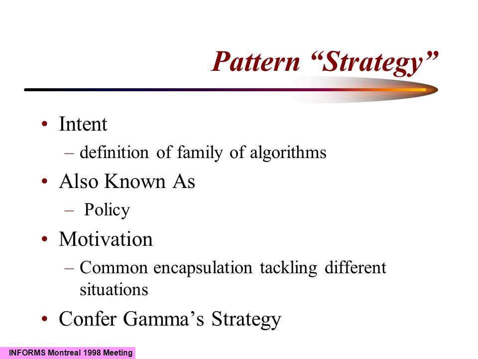 INFORMS Montreal 1998 Meeting Pattern Strategy Intent –definition of family of algorithms Also Known As – Policy Motivation –Common encapsulation tackling different situations Confer Gamma's Strategy