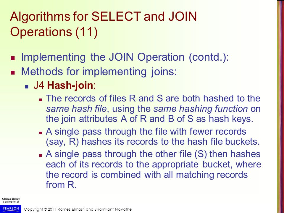 Copyright © 2011 Ramez Elmasri and Shamkant Navathe Using Selectivity and Cost Estimates in Query Optimization (8) Examples of Cost Functions for JOIN (contd.) J1.