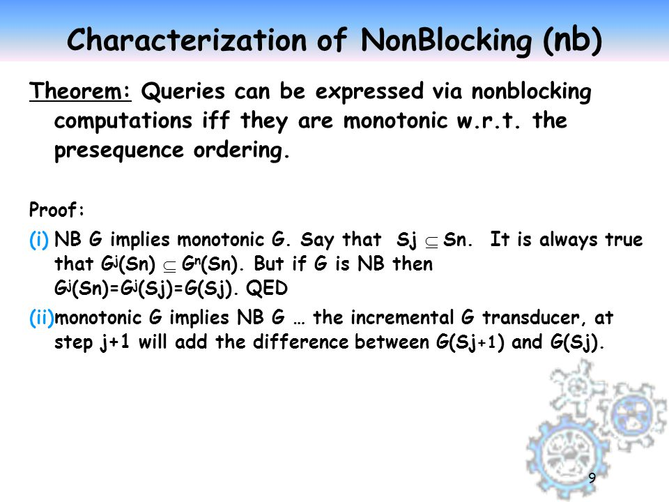 NonBlocking Iff Monotonic zThe theorem generalizes from presequences to sets---i.e.