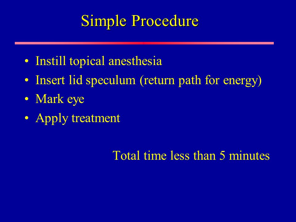 Simple Procedure Instill topical anesthesia Insert lid speculum (return path for energy) Mark eye Apply treatment Total time less than 5 minutes