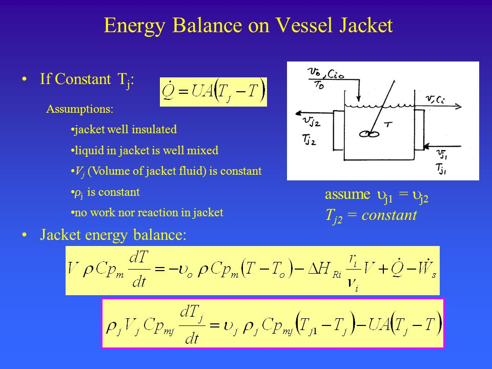 Energy Balance on Vessel Jacket If Constant T j : Jacket energy balance: assume  j1 =  j2 T j2 = constant Assumptions: jacket well insulated liquid in jacket is well mixed V j (Volume of jacket fluid) is constant  j is constant no work nor reaction in jacket