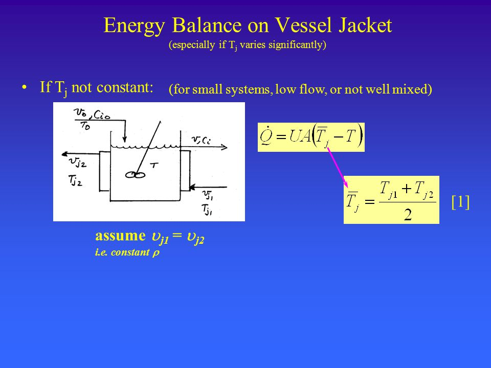 Energy Balance on Vessel Jacket (especially if T j varies significantly) (for small systems, low flow, or not well mixed) If T j not constant: assume  j1 =  j2 i.e.