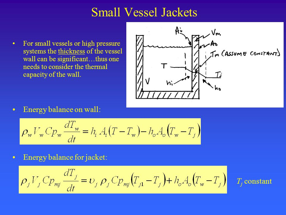 Small Vessel Jackets For small vessels or high pressure systems the thickness of the vessel wall can be significant…thus one needs to consider the the