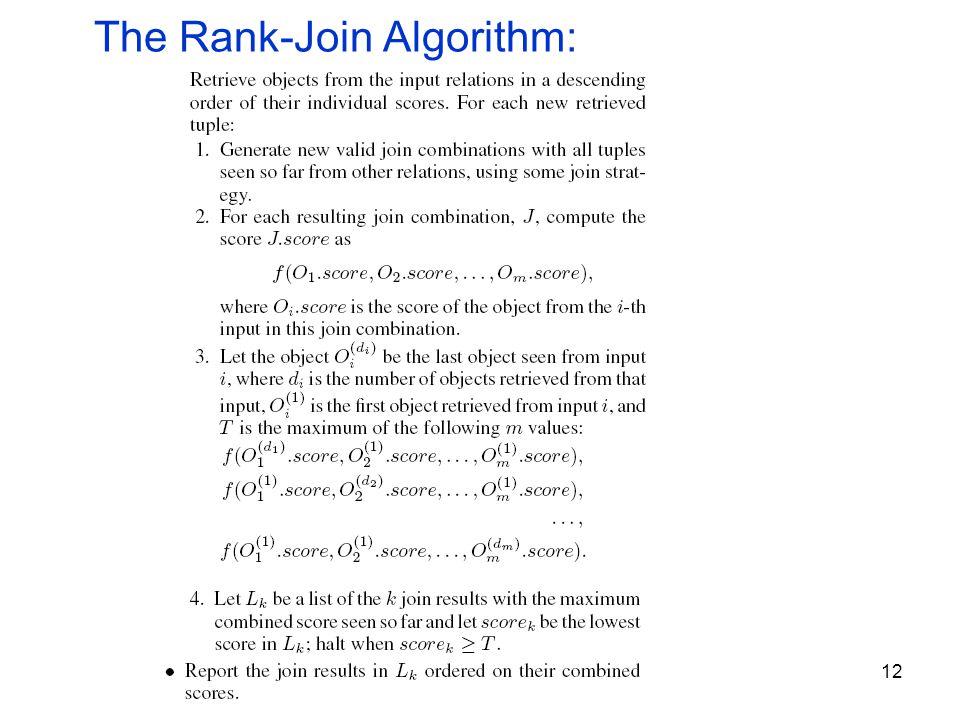 12 The Rank-Join Algorithm: