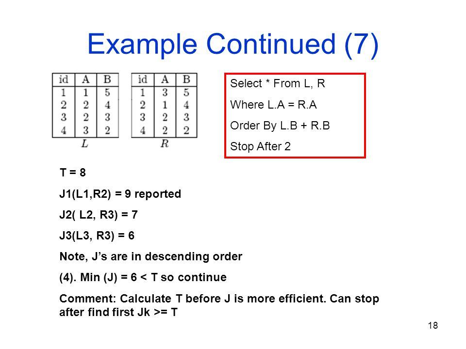 18 Example Continued (7) T = 8 J1(L1,R2) = 9 reported J2( L2, R3) = 7 J3(L3, R3) = 6 Note, J's are in descending order (4).