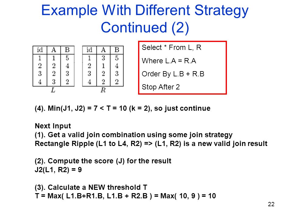 22 Example With Different Strategy Continued (2) Select * From L, R Where L.A = R.A Order By L.B + R.B Stop After 2 (4).