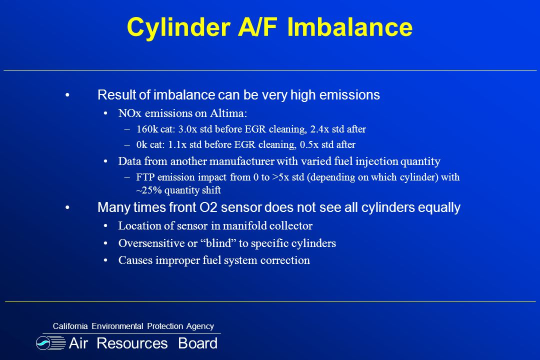Cylinder A/F Imbalance Result of imbalance can be very high emissions NOx emissions on Altima: –160k cat: 3.0x std before EGR cleaning, 2.4x std after