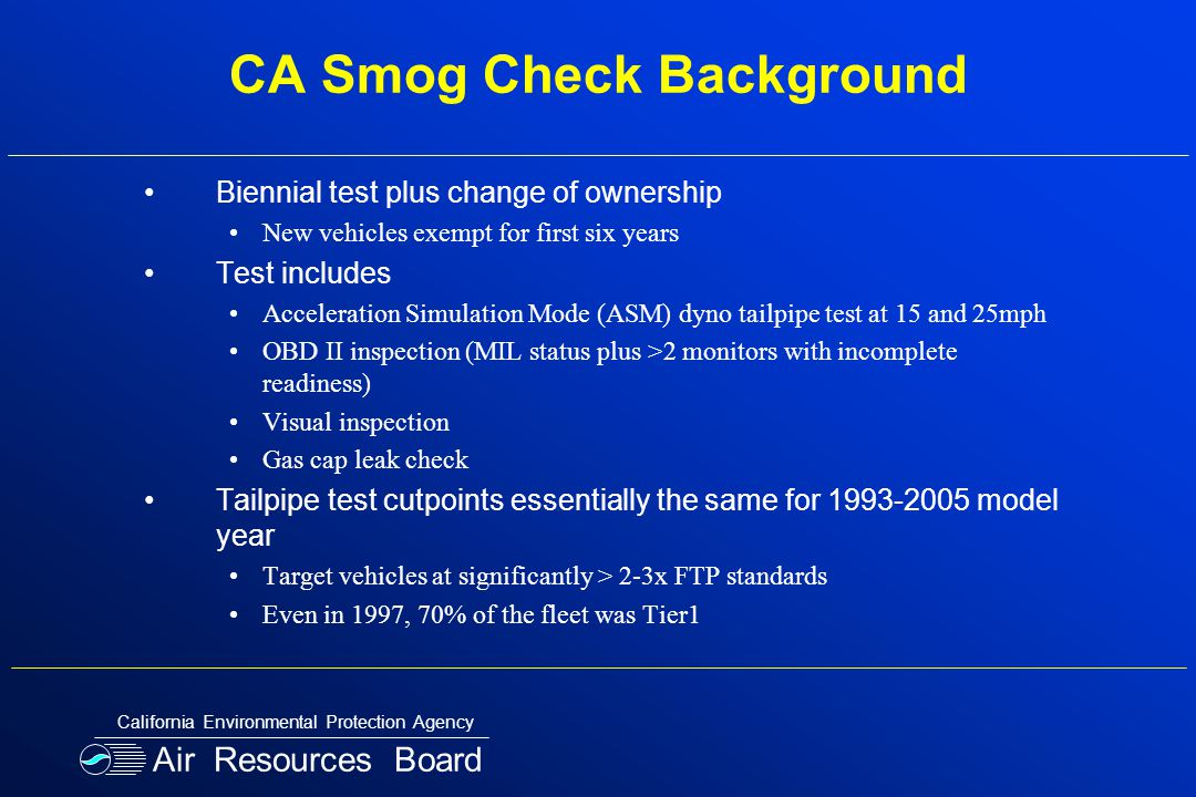 CA Smog Check Background Biennial test plus change of ownership New vehicles exempt for first six years Test includes Acceleration Simulation Mode (AS
