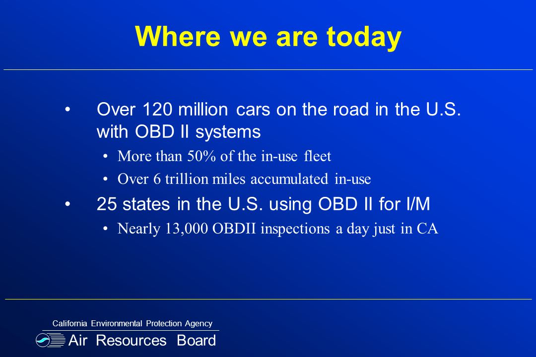 Where we are today Over 120 million cars on the road in the U.S.