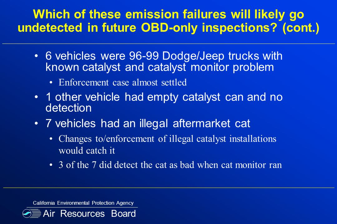 Which of these emission failures will likely go undetected in future OBD-only inspections.