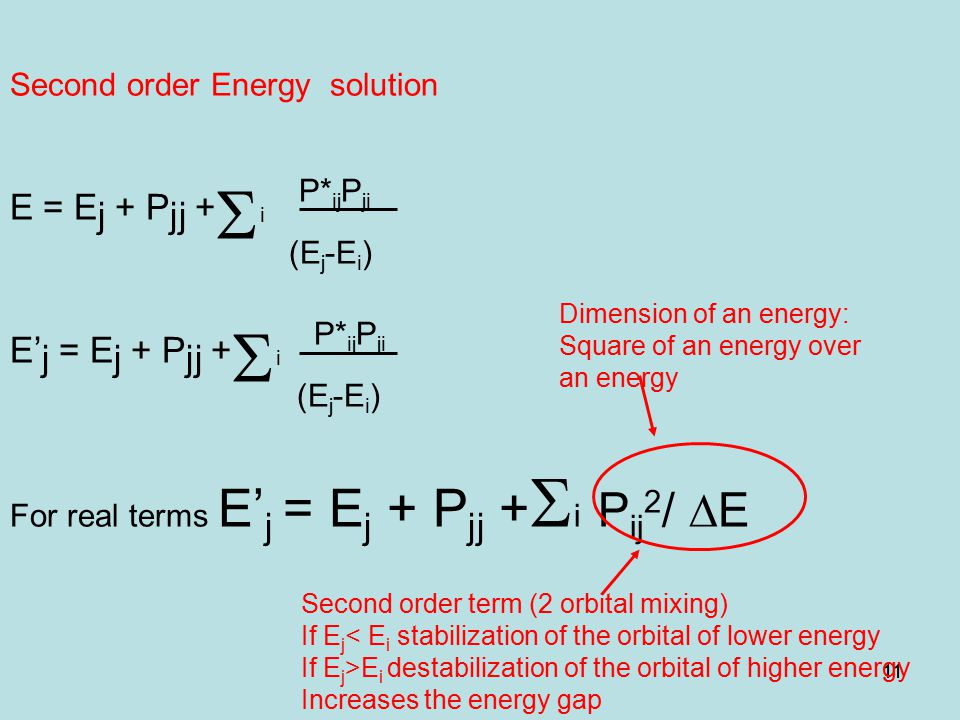 11 Second order Energy solution E = E j + P jj +  i P* ij P ji (E j -E i ) E' j = E j + P jj +  i P* ij P ji (E j -E i ) For real terms E' j = E j + P jj +  i P ij 2 /  E Second order term (2 orbital mixing) If E j < E i stabilization of the orbital of lower energy If E j >E i destabilization of the orbital of higher energy Increases the energy gap Dimension of an energy: Square of an energy over an energy
