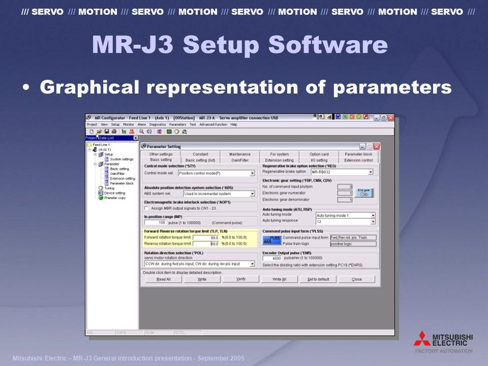 Mitsubishi Electric – MR-J3 General introduction presentation - September 2005 /// SERVO /// MOTION /// SERVO /// MOTION /// SERVO /// MOTION /// SERVO /// MOTION /// SERVO /// MR-J3 Setup Software Graphical representation of parameters