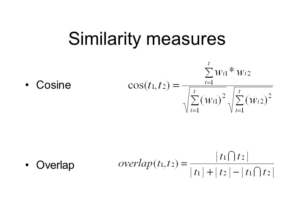 Cosine Overlap Similarity measures