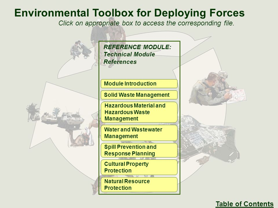 REFERENCE MODULE: Technical Module References Module Introduction Solid Waste Management Hazardous Material and Hazardous Waste Management Water and Wastewater Management Spill Prevention and Response Planning Cultural Property Protection Natural Resource Protection Environmental Toolbox for Deploying Forces Click on appropriate box to access the corresponding file.