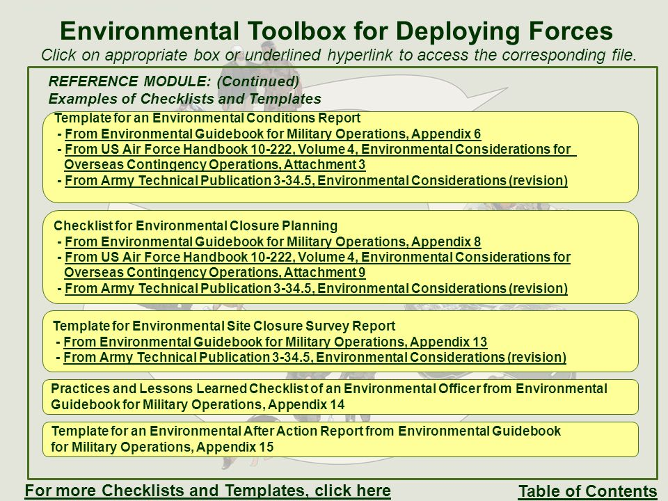 REFERENCE MODULE: (Continued) Examples of Checklists and Templates Accumulation Point Inspection Checklist from US Air Force Handbook 10-222, Volume 4, Environmental Considerations for Overseas Contingency Operations, Attachment 4 Example Performance Work Statement from US Air Force Handbook 10-222, Volume 4, Environmental Considerations for Overseas Contingency Operations, Attachment 8 Environmental Toolbox for Deploying Forces Table of Contents For more Checklists and Templates, click here Examples of Spill Prevention and Response Plan format – - From the US Army Commander's Handbook: Waste Management For Deployed ForcesFrom the US Army Commander's Handbook: Waste Management For Deployed Forces - From Norwegian Joint Headquarters (NOR NJHQ), Annex J, Environmental Protection,From Norwegian Joint Headquarters (NOR NJHQ), Annex J, Environmental Protection, Appendix J2-01 Examples of Spill Reports - From the US Army Commander's Handbook: Waste Management For Deployed ForcesFrom the US Army Commander's Handbook: Waste Management For Deployed Forces - From Norwegian Joint Headquarters (NOR NJHQ), Annex J, Environmental Protection,From Norwegian Joint Headquarters (NOR NJHQ), Annex J, Environmental Protection, Appendix J4-01 Click on appropriate box or underlined hyperlink to access the corresponding file.