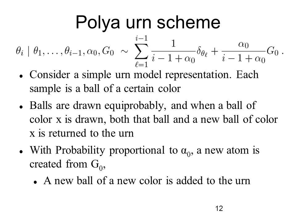 12 Polya urn scheme Consider a simple urn model representation.