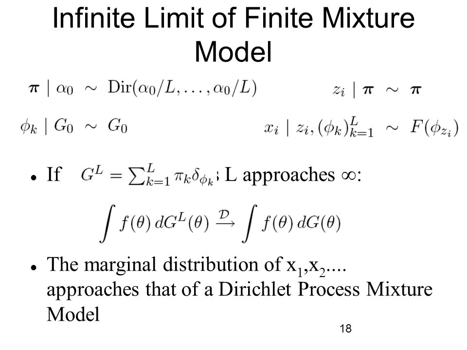 18 Infinite Limit of Finite Mixture Model If, then as L approaches ∞: The marginal distribution of x 1,x 2....
