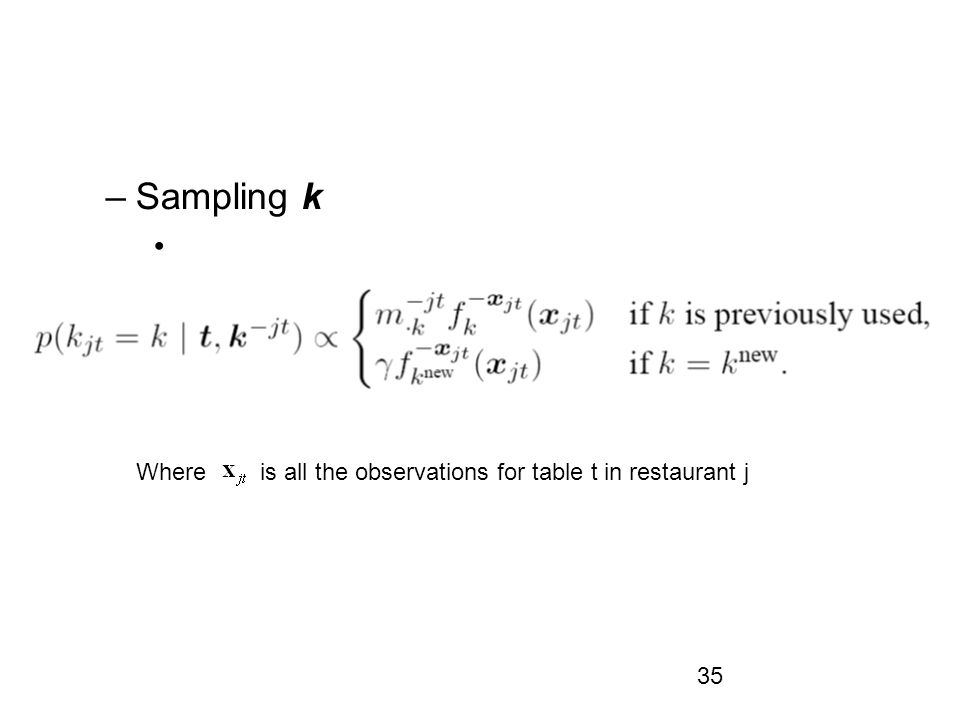 35 –Sampling k Where is all the observations for table t in restaurant j