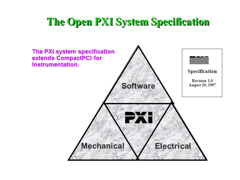 Software Electrical Mechanical The PXI system specification extends CompactPCI for Instrumentation.