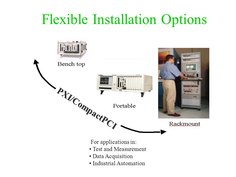 Flexible Installation Options PXI/CompactPCI For applications in: Test and Measurement Data Acquisition Industrial Automation