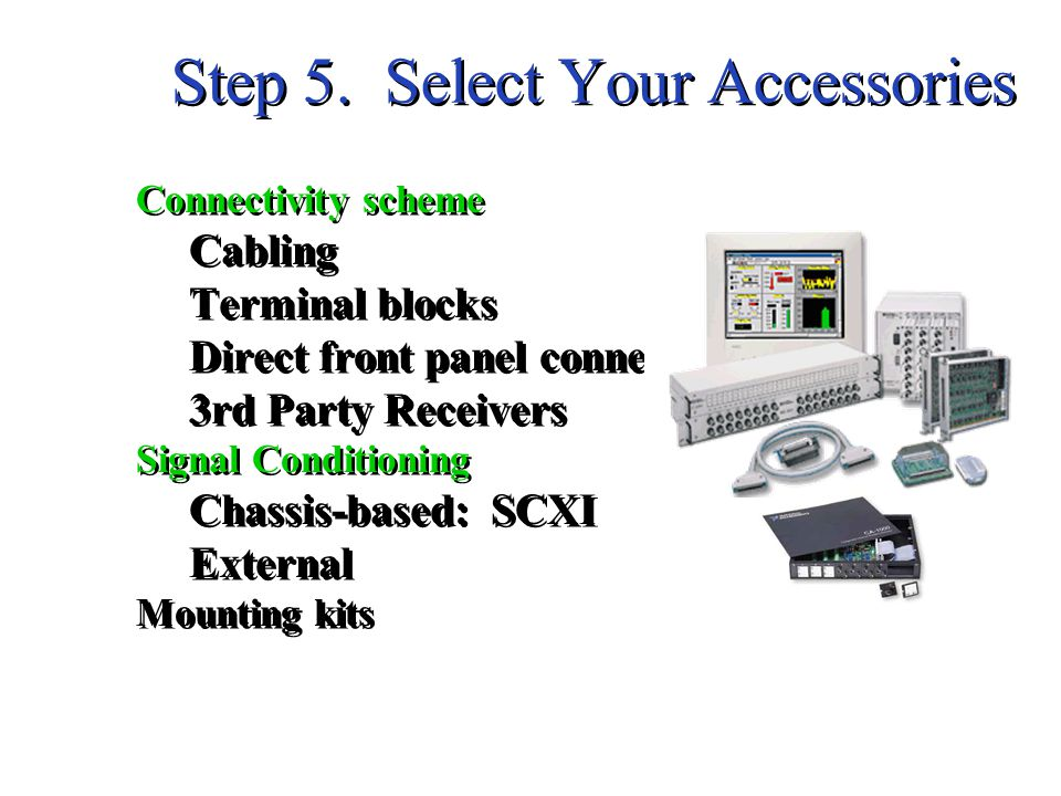Step 5. Select Your Accessories Connectivity scheme Cabling Terminal blocks Direct front panel connection 3rd Party Receivers Signal Conditioning Chas
