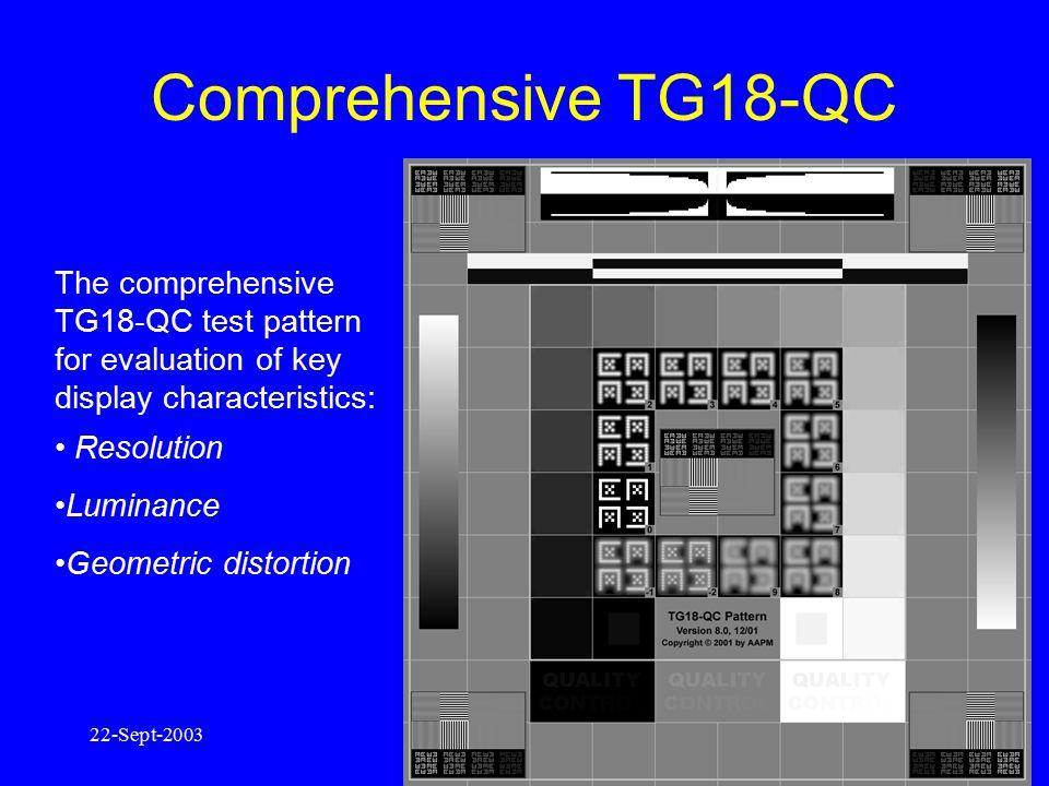 22-Sept-200312 TG18-MP: bit-depth / continuous grayscale TG18-CT:contrast / luminance response AAPM TG18 Patterns