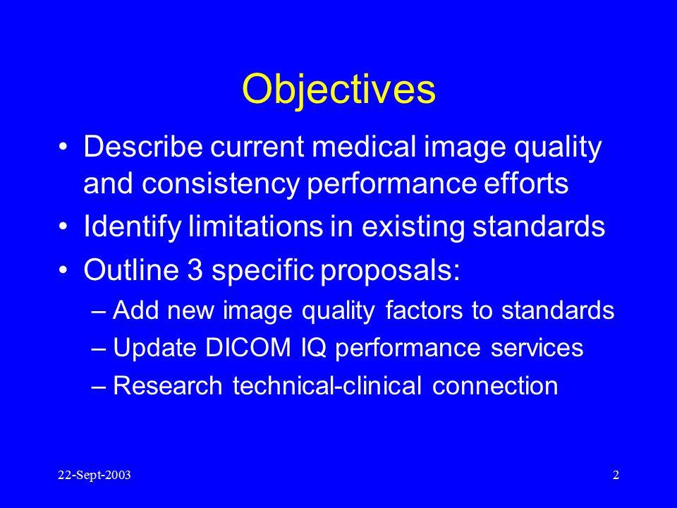 22-Sept-20031 Towards Clinically-relevant Standardization of Image Quality Ehsan Samei, Duke University Alan Rowberg, University of Washington Ellie A