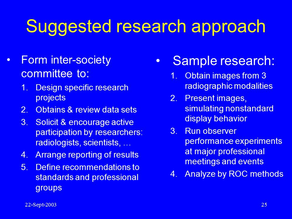 22-Sept-200324 Goals of proposed research: Determine the clinical consequence of variations in image quality metrics (e.g., GSDF conformance, MTF, noi