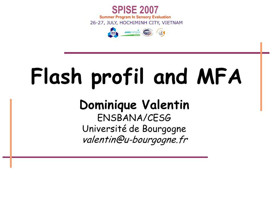 flash profil22 00.250.500.751.00 0 0.25 0.50 0.75 1.00 Factor 1 - 36.48 % Factor 3 - 20.28 % J1 J2 J3 J4 J5 An example: MFA results