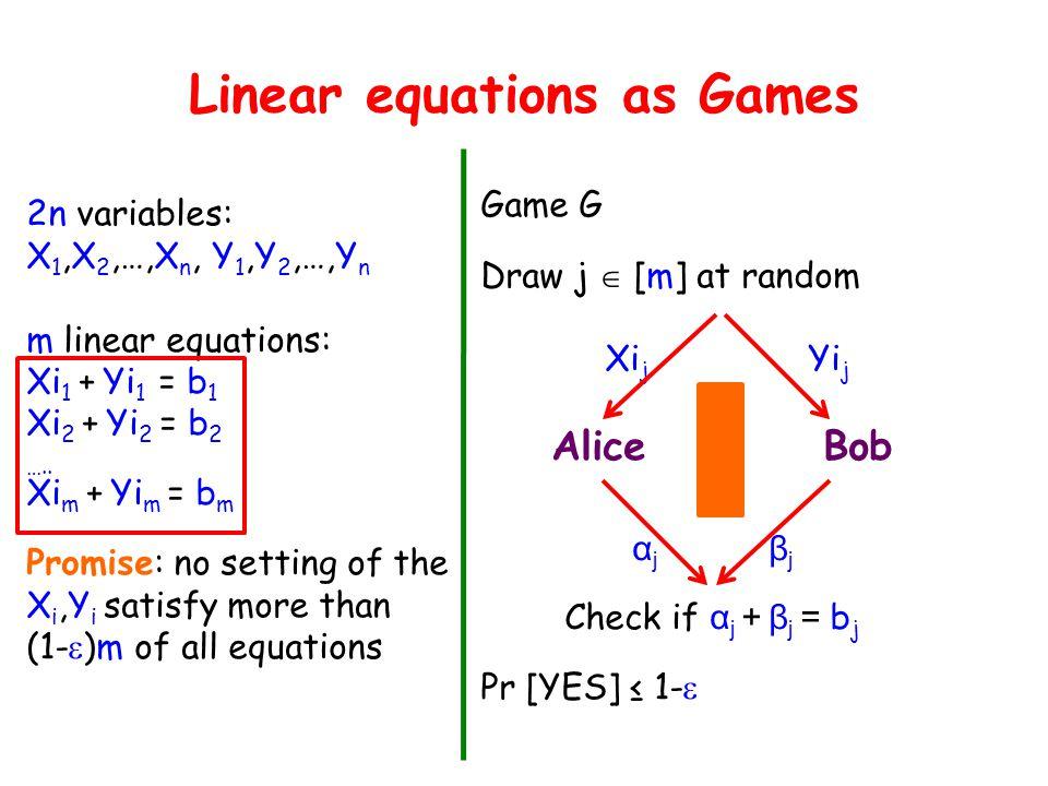 Linear equations as Games 2n variables: X 1,X 2,…,X n, Y 1,Y 2,…,Y n m linear equations: Xi 1 + Yi 1 = b 1 Xi 2 + Yi 2 = b 2 ….. Xi m + Yi m = b m Pro
